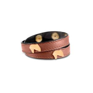 Braccialetto-Double-regalo-equestre-marrone-oro